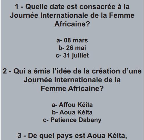 Quiz sur la journée international de la femme africaine